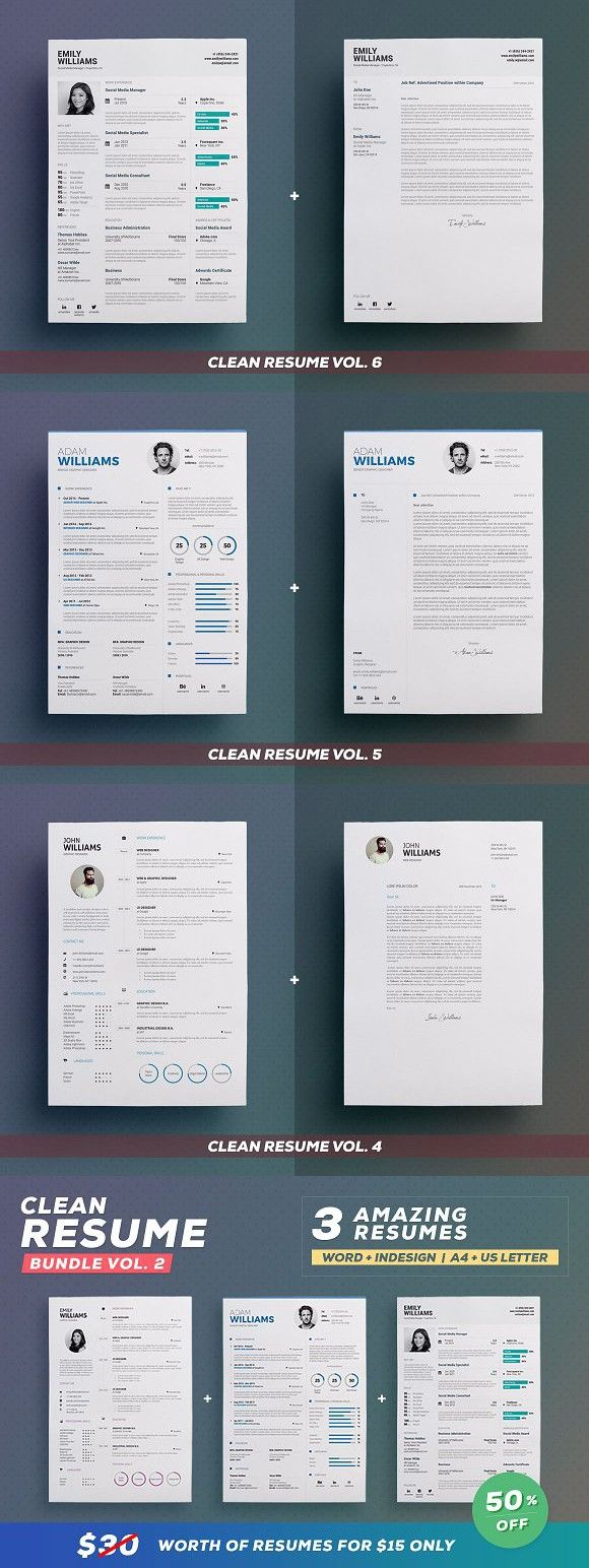 Clean Resume - Bundle Edition Vol. 2 #anycolor #coverletter