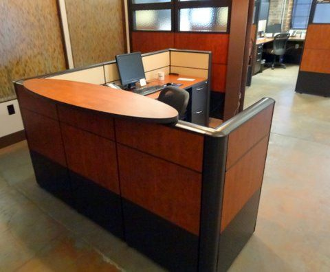 Elegant modern laminate reception station from ais cubicle panels and worksurface by connecting