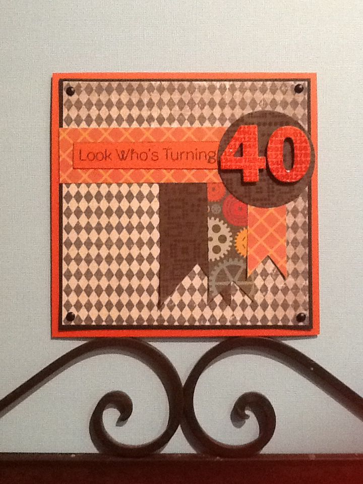 Masculine 40th birthday card. Banner detail with embossed 40 diecut. Orange and black.