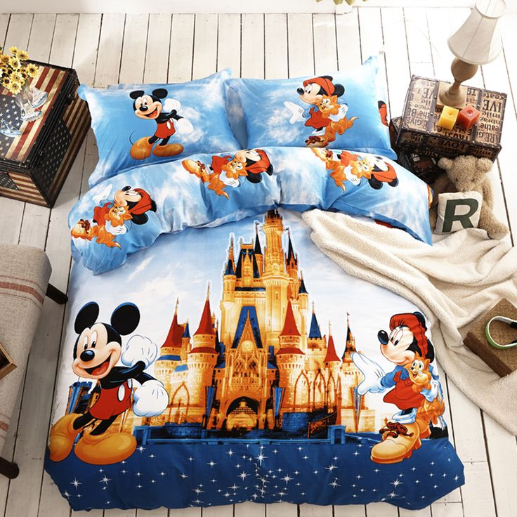 Disney bedding set Twin and Queen Size 100% Cotton and Super soft Material. 5pcs Kids comforter set made using Applique Embroidery Technique. Free Shipping.