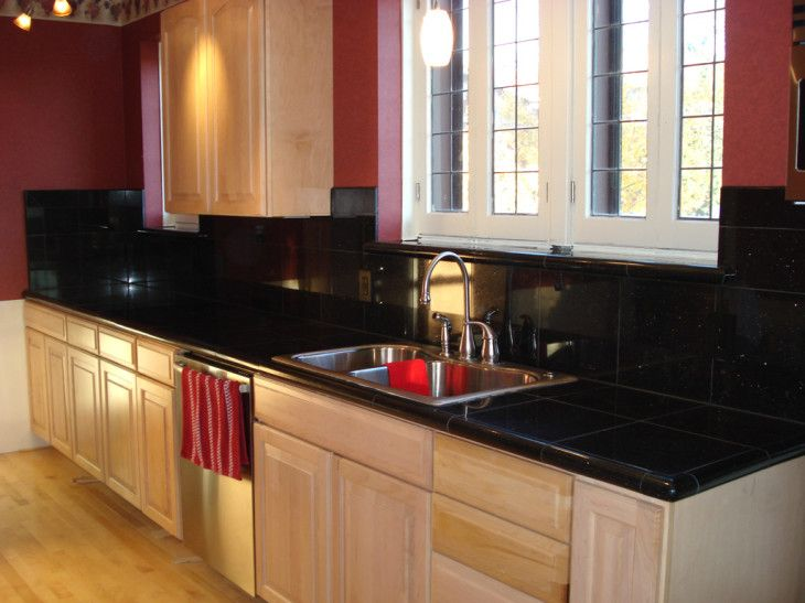 Kitchen Amazing Jet Black Granite Kitchen Countertops With Light Wooden Cabinet - pictures, photos, images