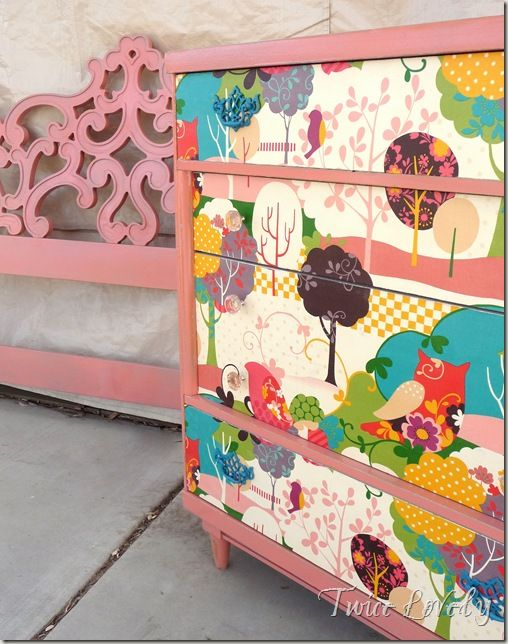 LOVE the idea of fabric front on dresser drawers. Perfect solution to an old dresser.