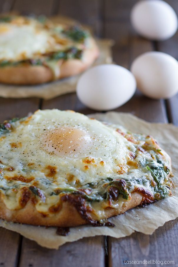 Creamed Spinach and Egg Pizza - Taste and Tell
