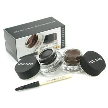 Bobbi Brown Long Wear Gel Eyeliner Duo: 2x Gel Eyeliner 3g (Black Ink, Sepia Ink) + Mini Ultra Fine Eye Liner Brush  3pcs