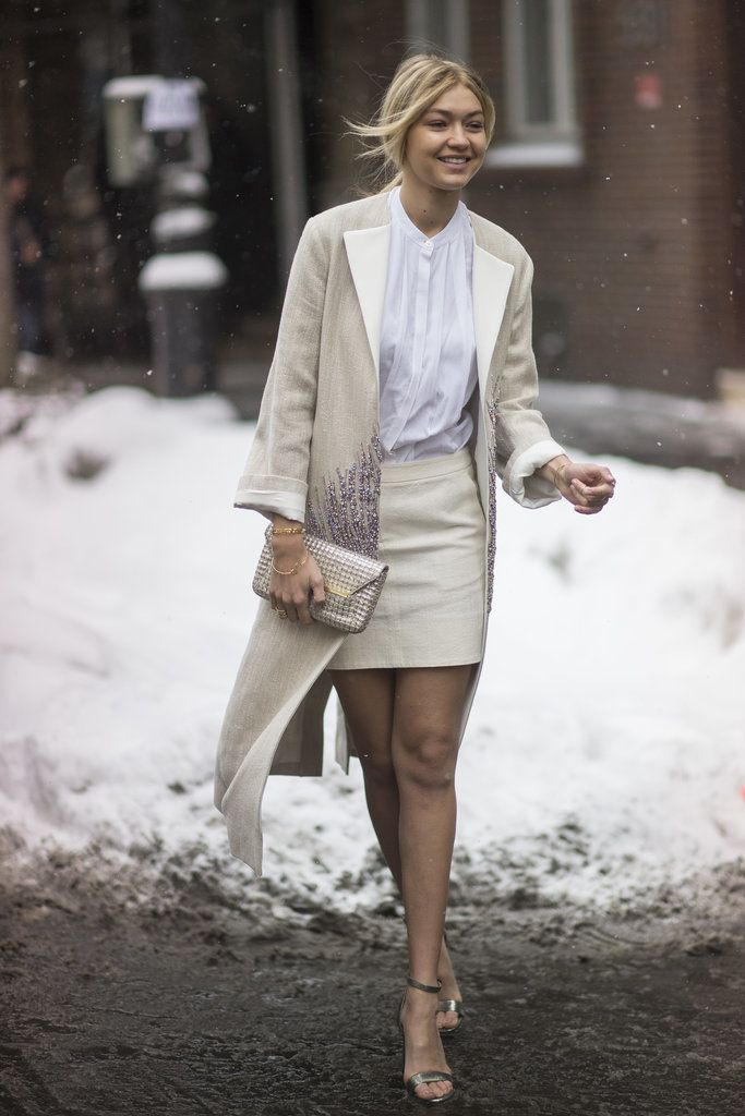 Fashion Week in NYC called for a sophisticated coat and skirt, fit for the front row. Image Source: Getty / Timur Emek