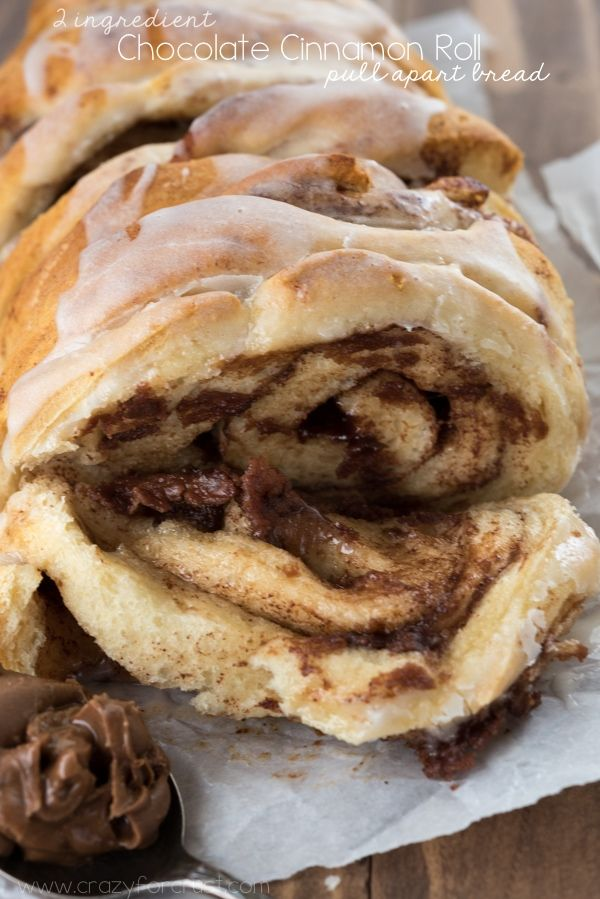 The easiest breakfast recipe ever! Chocolate Cinnamon Pull-Apart Bread with only…