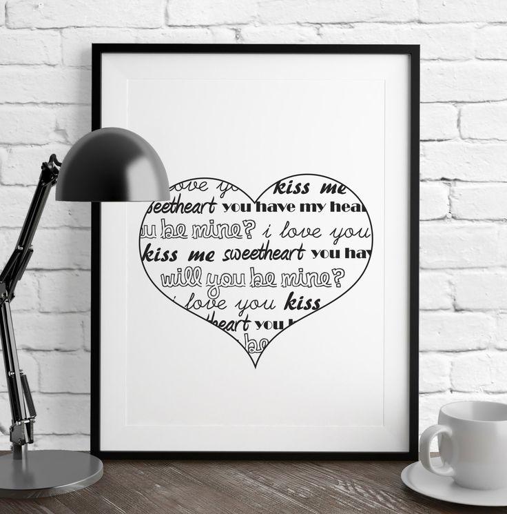 Heart Print Love Printable Valentine Art Love Prints Valentine Print Printable Wall Art Digital Prints Black