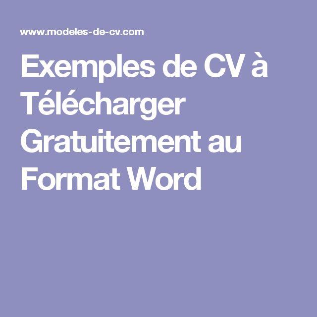 exemples de cv  u00e0 t u00e9l u00e9charger gratuitement au format word