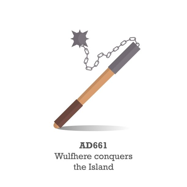 Weapon illustration from a recent project for Red Funnel Ferries, depicting a timeline of the Isle of Wight.