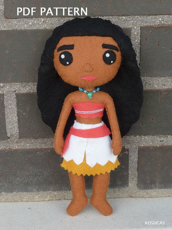PDF patter to make a doll inspired in Moana Vaiana by Kosucas