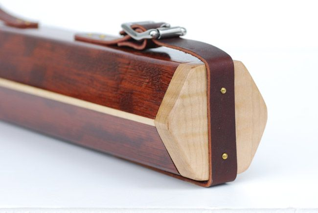 walnut fly fishing rod case with leather straps