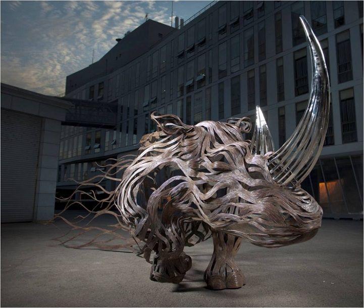 Les Sculptures animalières de Bandes métalliques de Sung Hoon Kang (9)