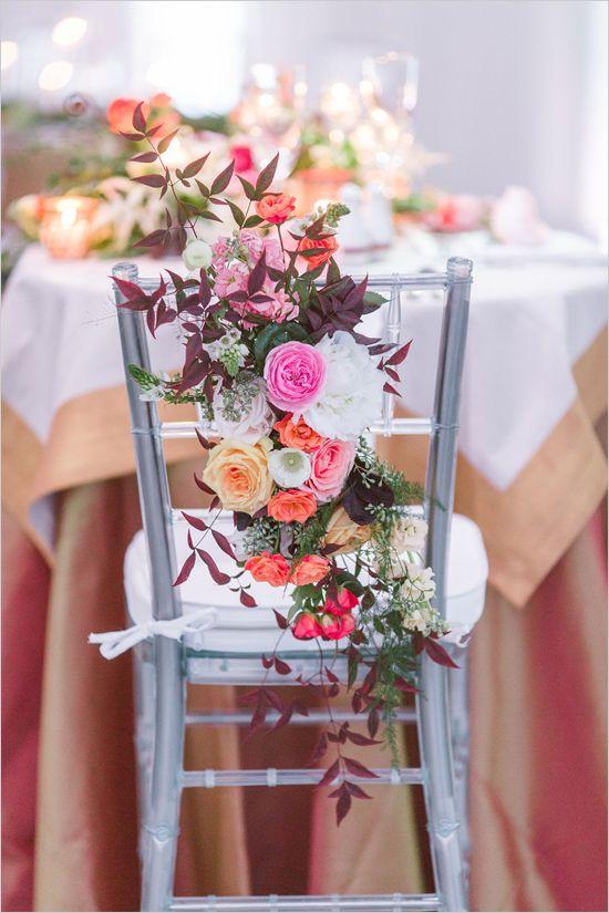 Cascading floral seat decor. Captured By: Vitalic Photo #weddingchicks http://www.weddingchicks.com/2014/06/13/get-creative-with-an-art-museum-wedding/