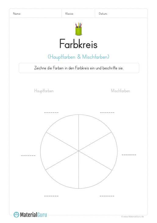 ein kostenloses arbeitsblatt zum fach kunst auf dem die sch ler informationen zum farbkreis. Black Bedroom Furniture Sets. Home Design Ideas