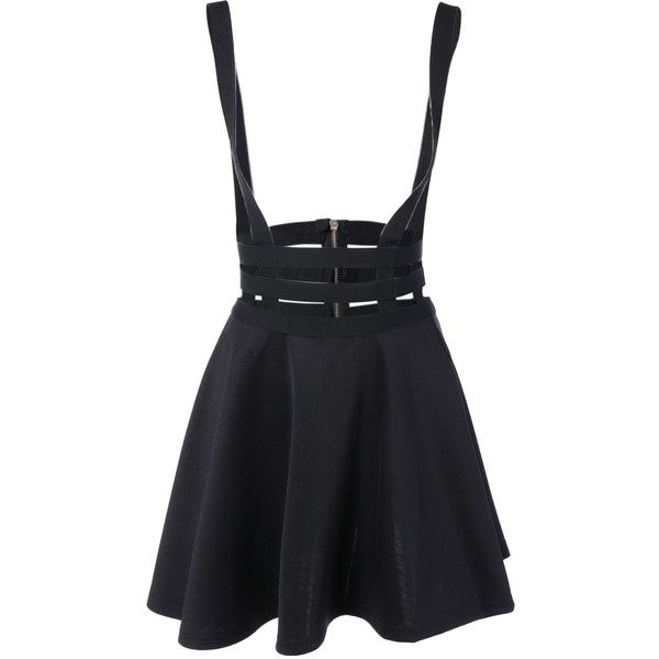 A Line Suspender Skirt (175 DKK) ❤ liked on Polyvore featuring skirts, bottoms, dresses, saia, a-line skirt and knee length a line skirt