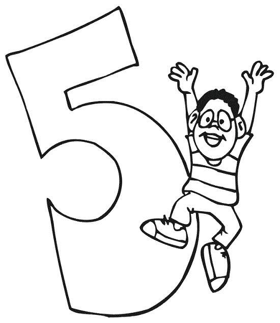5 Sayısı (Rakamı) Boyama Sayfaları