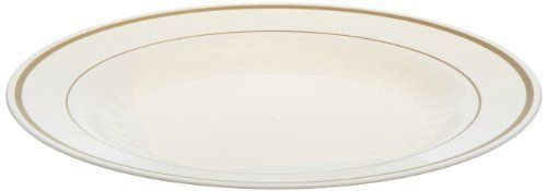 """Masterpiece MP75IPREM 7.5"""" Ivory with Gold Printed Polystyrene Round Plate (15 Packs of 10) by Masterpiece. $105.92. Masterpiece Plastic Plates, 7-1/2 inches, Ivory w/Gold Accents, Round, 10/Pack Masterpiece Plastic Plates, 7-1/2 inches, Ivory w/Gold Accents, Round, 10/Pack, This dinnerware presents all the beauty of hand-painted china with the convenience of a disposable. Material(s): Plastic. Dinnerware Type: Plate. Color(s): Ivory/Gold. Diameter: 7-1/2 inches...."""