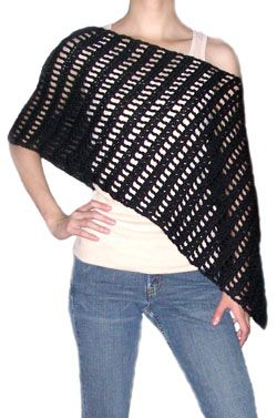 Crochet Spot » Blog Archive » Crochet Pattern: Striped Asymmetrical Poncho - Crochet Patterns, Tutorials and News