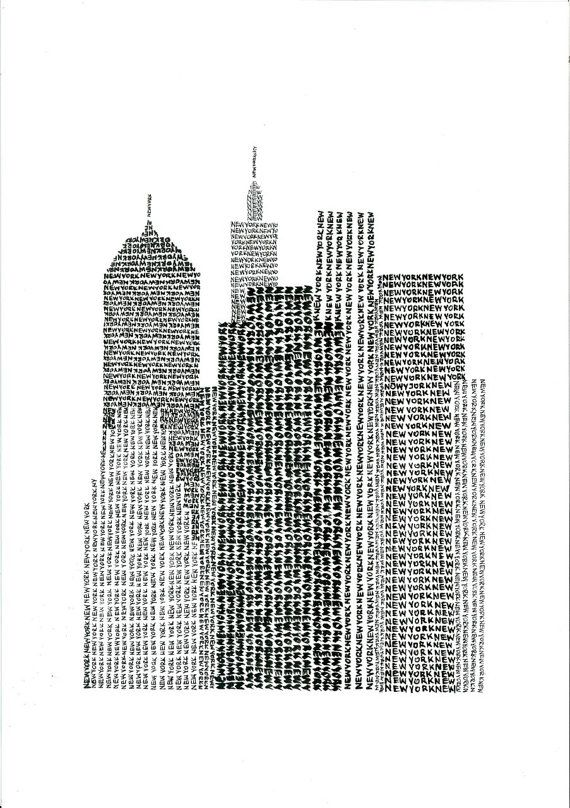 New York Typographic Art Print / handwritten by Adam Jankiewicz