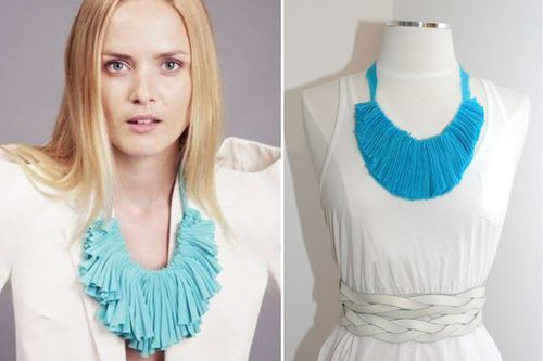 DIY Fabric Necklace - Nice little craft project. Could think of some different ways to spin thins too. Def. not so big..