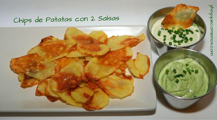 Unos Chips de Patatas con 2 Salsas para picotear o dipear con tus familiares y amigos. Una receta divertida y muy apetecible.