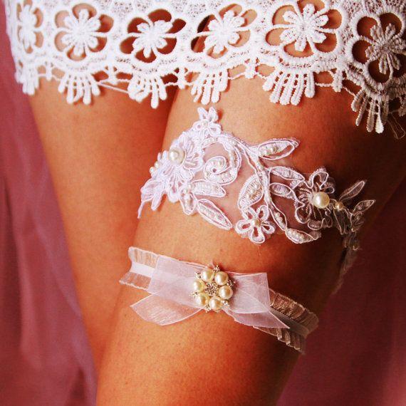 Wedding Bridal Garter Set - Beach Boho Rustic Wedding Garter Belts - Prom Garters - Vintage Wedding Garters Ivory Lace Pearl