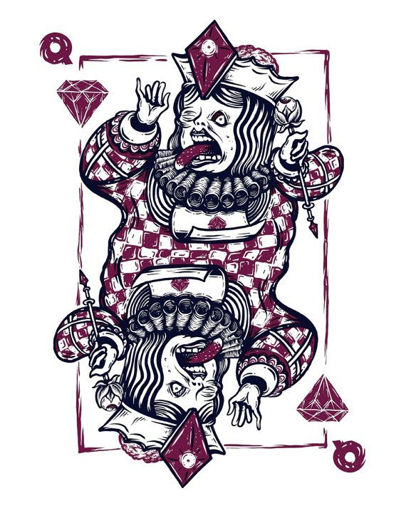 Queen of Diamonds  Silkscreen Art Print  16 x by QuarrelsomeYeti