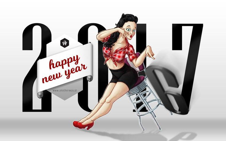 Happy New Year 2017 #wishes #new #year #illustration #newyear #design #pinup #pinupgirl