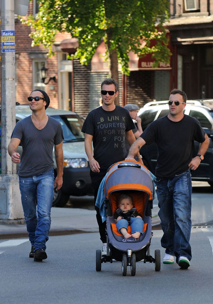 Jude Law and Jonny Lee Miller on a Walk  W/ Buster Miller