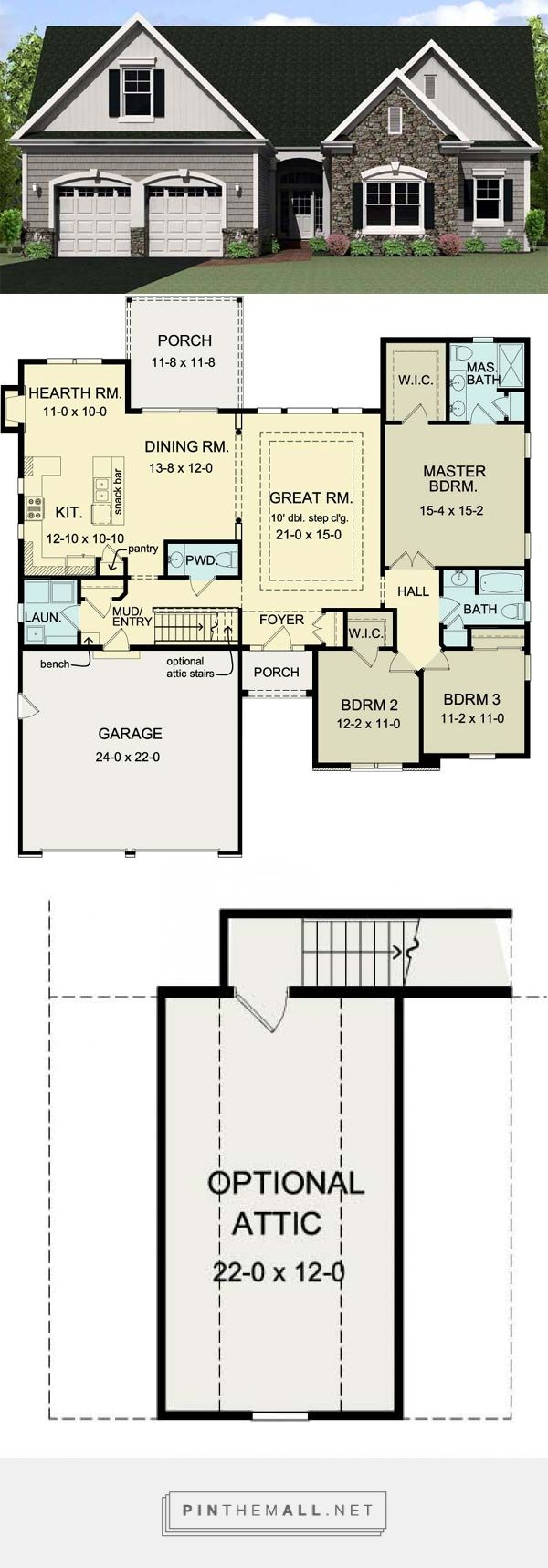 Ranch House Plan 54075 223 best Floor