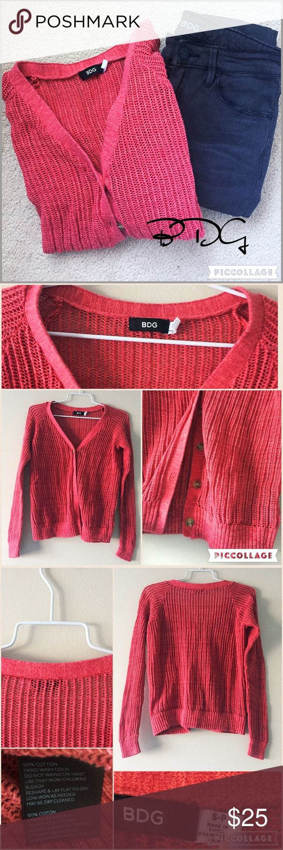 """Urban Outfitters BDG coral cardigan S BDG Urban Outfitters coral colored button down cardigan with V-neck, waffle material, and brown buttons. 100% cotton and in excellent condition. 20"""" bust & 22"""" long. Bundle & save💖 Urban Outfitters Sweaters Cardigans"""