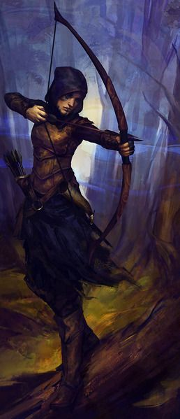 Basil before her life went to hell.(Female Archer in the woods by Arden Beckwith)