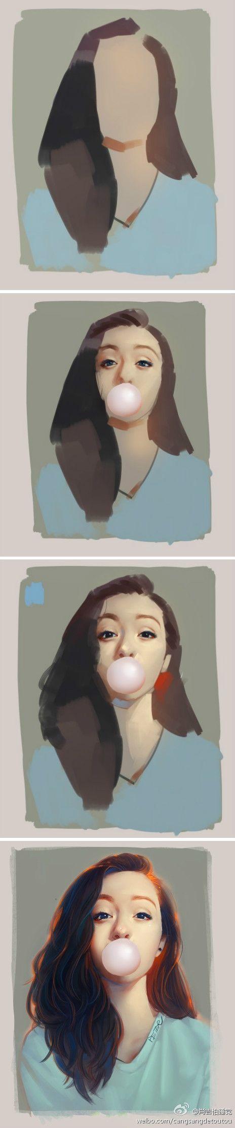 Art process. Drawing girl portrait.