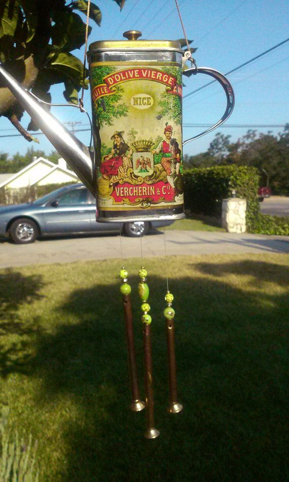 wind chimes victorian style old olive oil can
