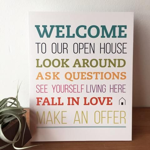 Open House Welcome Sign - No.2 L Bend