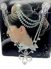 Silver Metal Chain Fringe Tassel Hair Comb wedding Bridal Flower Comb