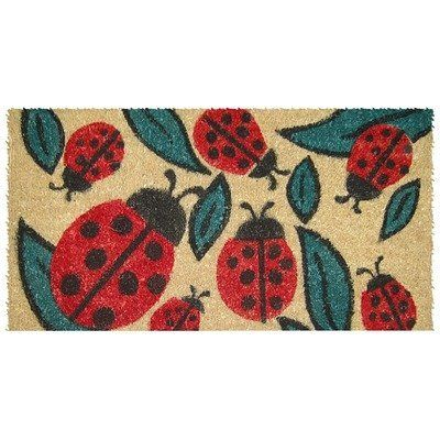 "Entryways Lady Bugs Hand Woven Coir Doormat by Entryways. $38.42. Hand made from all-natural coconut fiber which is an excellent dirt-trapper; 3/4"" thickness. This mat is hand stenciled with permanent fade-resistant dyes. 18 in x 30 in. This beautifully designed hand-woven doormat will enhance your entry way or patio. It's made from the highest quality all natural coconut fiber."