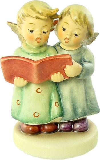 Hummel Figurines -Angel Duet with wooden base