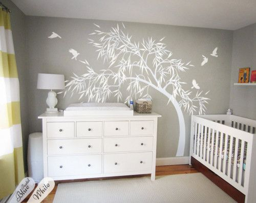 All white nursery tree, Large wall decals, multicolored stickers  KW28