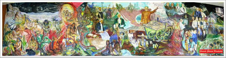 "Fragment of the mural of the master painter Raul Esparza ""History of the Medicine"" that is conserved in the Faculty of Medicine. (Fragmento del mural del Maestro pintor Raúl Esparza ""Historia de la Medicina"" que se conserva en la Facultad de Medicina)."