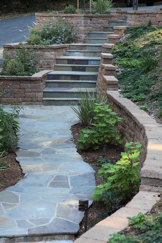 Exterior Stairs - like the look of the one piece of slate for each step and continuing the look onto the walkway.