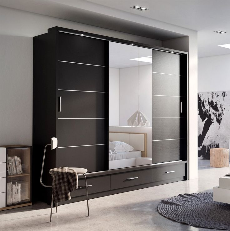 SLIDING DOOR WARDROBE ARTI 1 WITH A MIRROR 250CM BLACK MATT