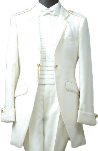 White Satin Mens Buttons Tuxedo Suit Jacket Shirt Necktie Pants