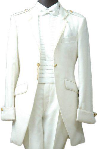 White Satin Mens Buttons Tuxedo Suit Jacket Shirt Necktie Pants