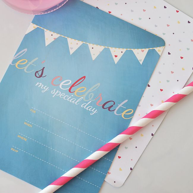Celebrate your birthday with this beautiful double sided invitation from the Little Hearts Collection!