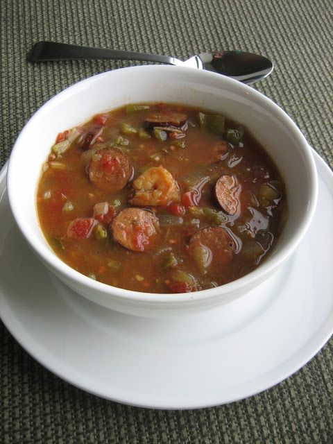 slow cooker chicken sausage and shrimp gumbo -- favorite Crock Pot dish to date!