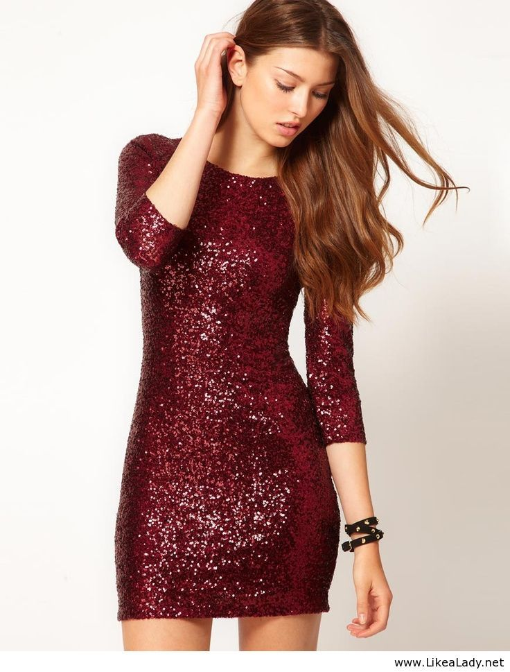 Sequin Dress with Long Sleeves