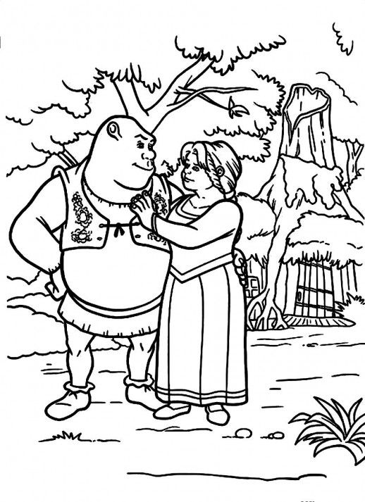shrek and fiona loving each other ever after coloring pages