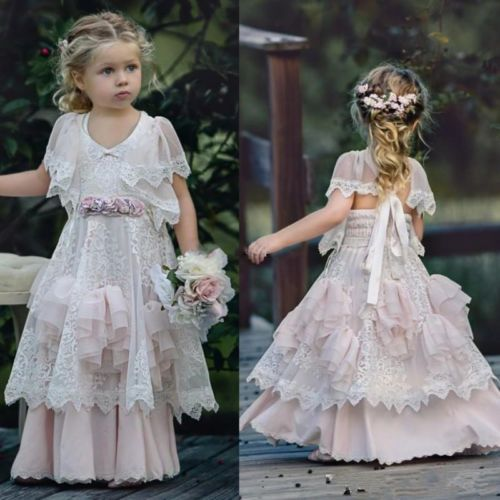 Custom Made Cute Lace Tiered Flower Girl Dress Girls Pageant Prom Party Gowns