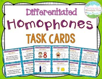 Differentiated Homophones Task Cards {Pictures & Text}$